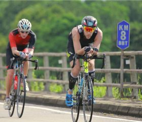 Competitive-man-on-bike-course